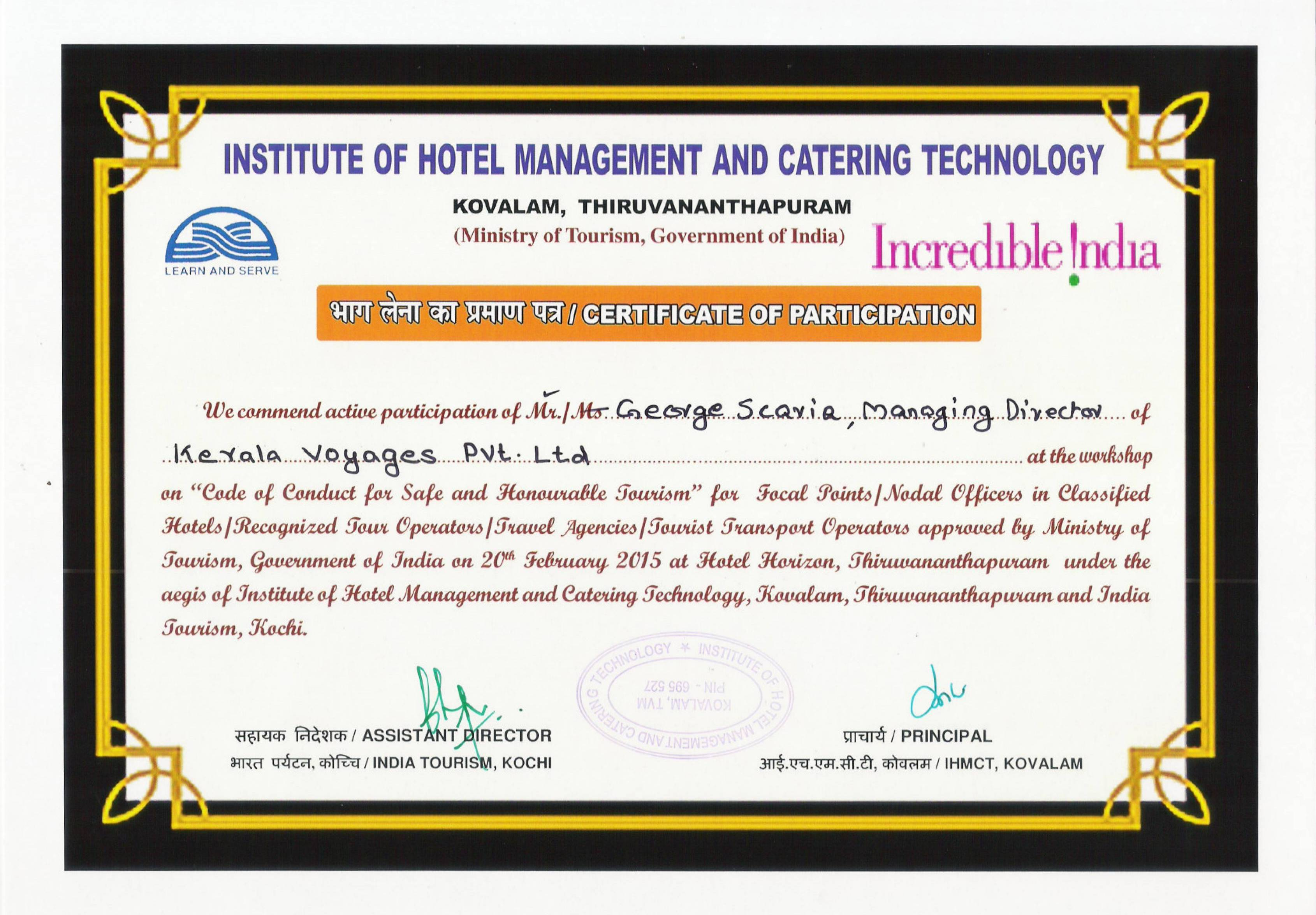 Accreditation and affiliations of kerala voyages india pvt ltd accredited by govt of india ministry of tourism yelopaper Choice Image